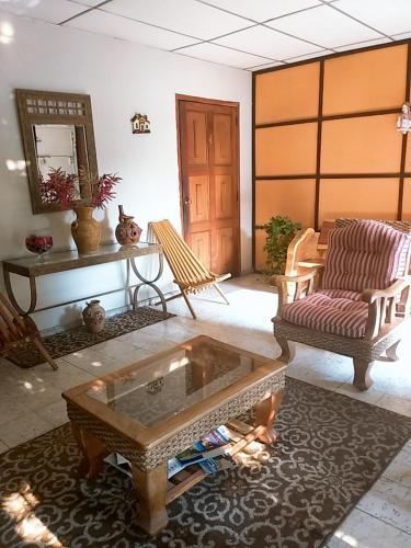 A seating area at Hostal Doña Marta