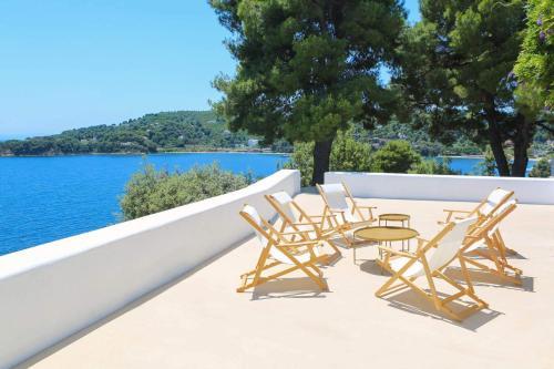 Μπαλκόνι ή βεράντα στο Sea View Villa in Achladies