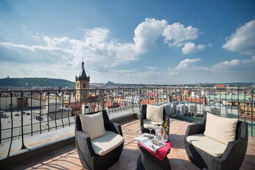 A balcony or terrace at Hotel Suite Home Prague