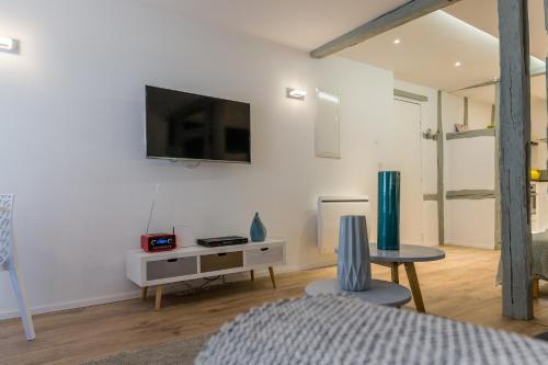Una televisión o centro de entretenimiento en Grand studio Colmar Centre