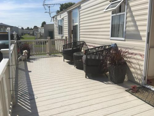A porch or other outdoor area at Northshore Private Caravan Rental
