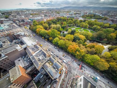 A bird's-eye view of The Dawson Suite Apartments on St. Stephens Green