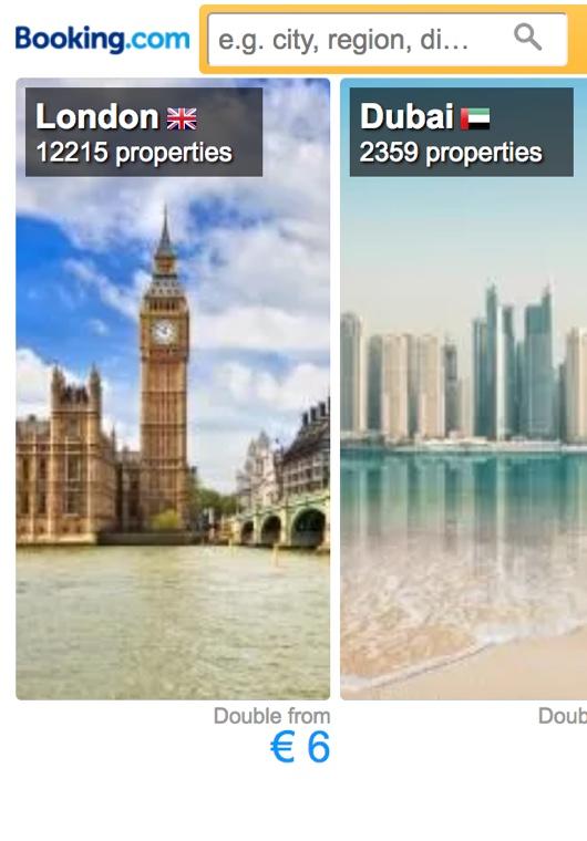 Inspirierendes Suchfeld mit Bildern von London, Dubai und Sydney