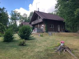 Wooden house with sauna, fireplace near forest, lake, SPA
