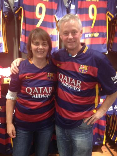 Sue and John Sayers (in Barcelona modelling Barcelona FC football shirts1)